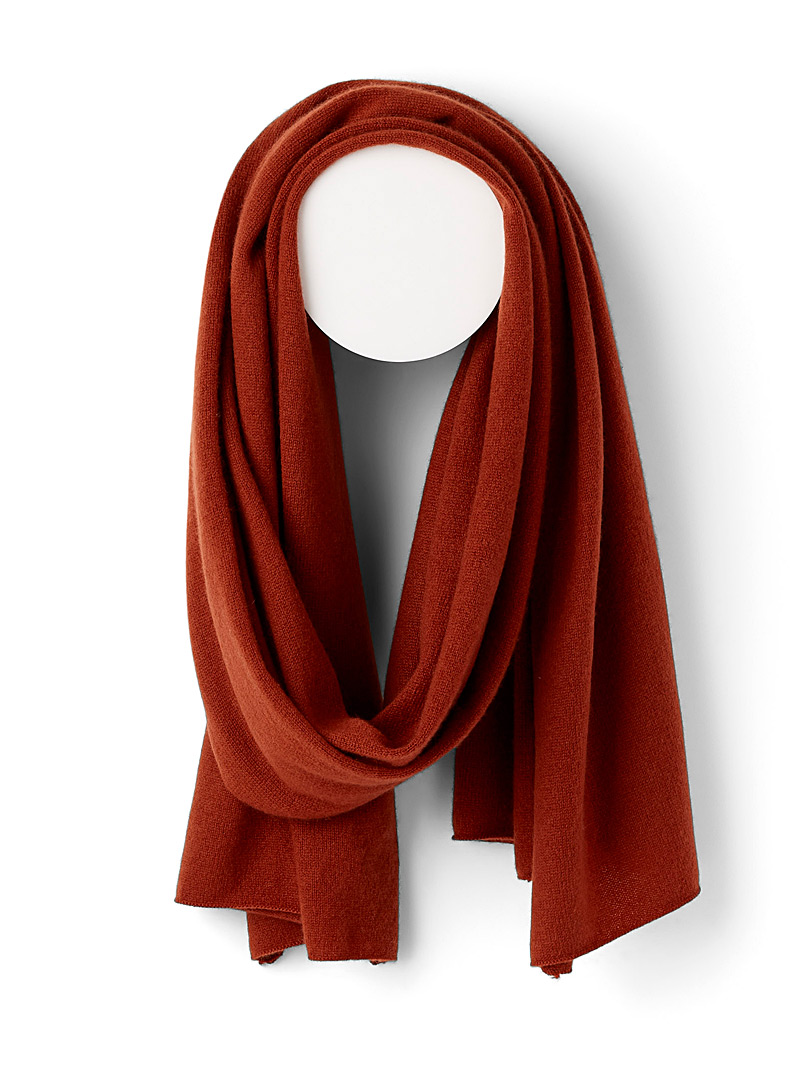 Simons Carmine red  Pure cashmere scarf for women