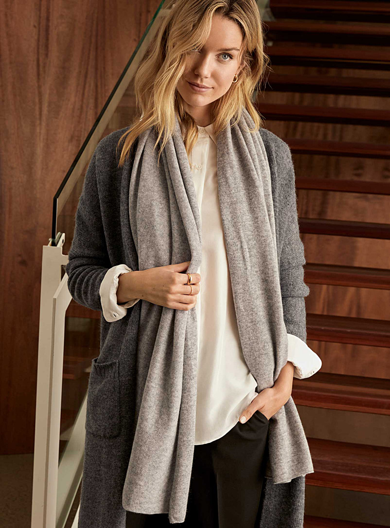 Simons Grey  Pure cashmere scarf for women