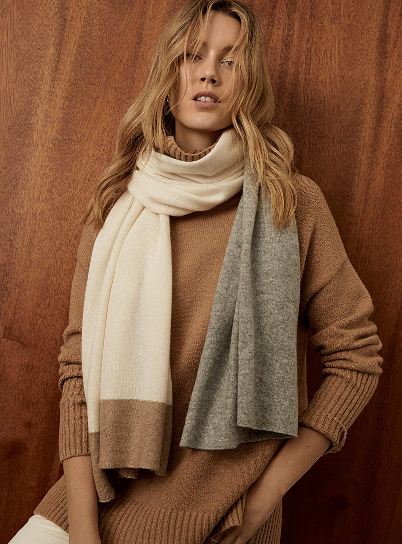 Simons Assorted beige  Colour block pure cashmere scarf for women