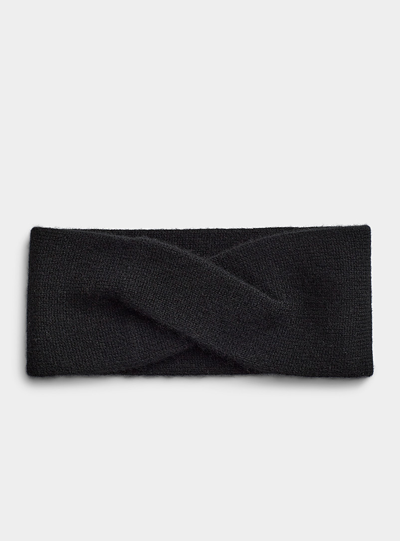 Simons Black Delicate twist cashmere headband for women