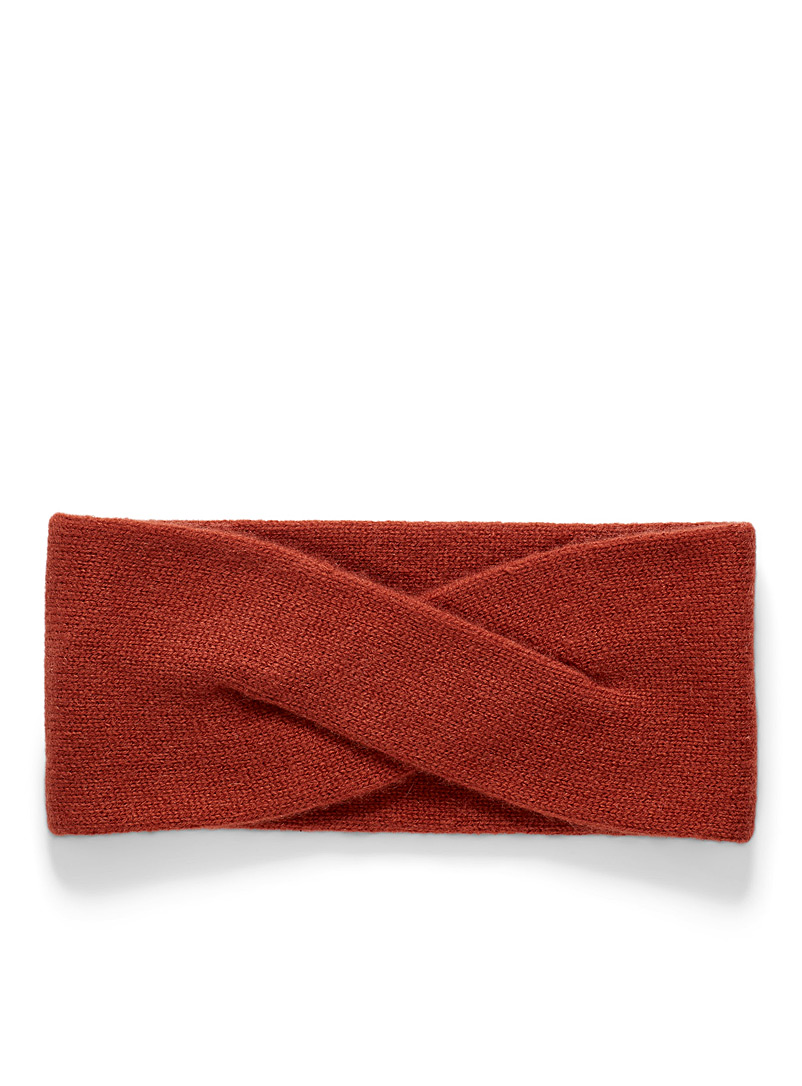 Simons Amber Bronze Delicate twist cashmere headband for women