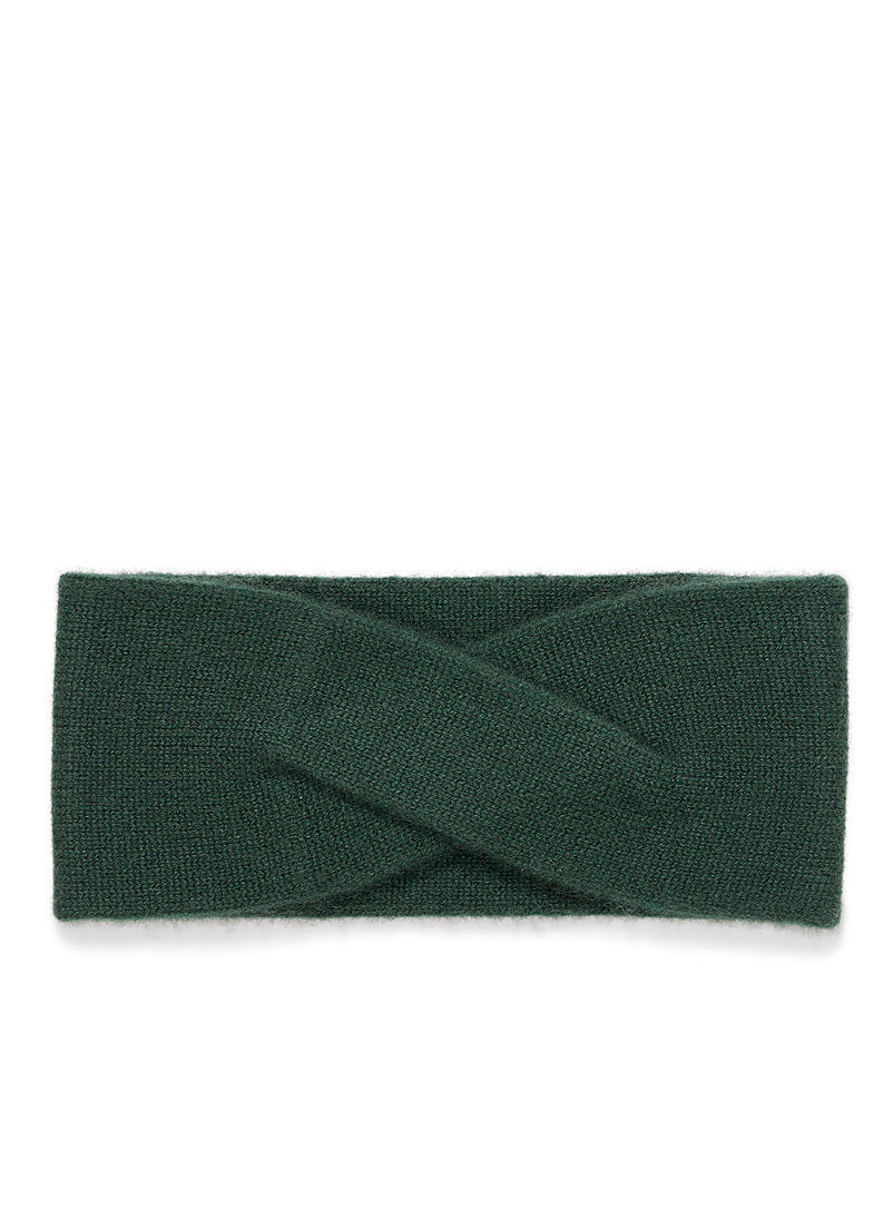 Simons Green Delicate twist cashmere headband for women