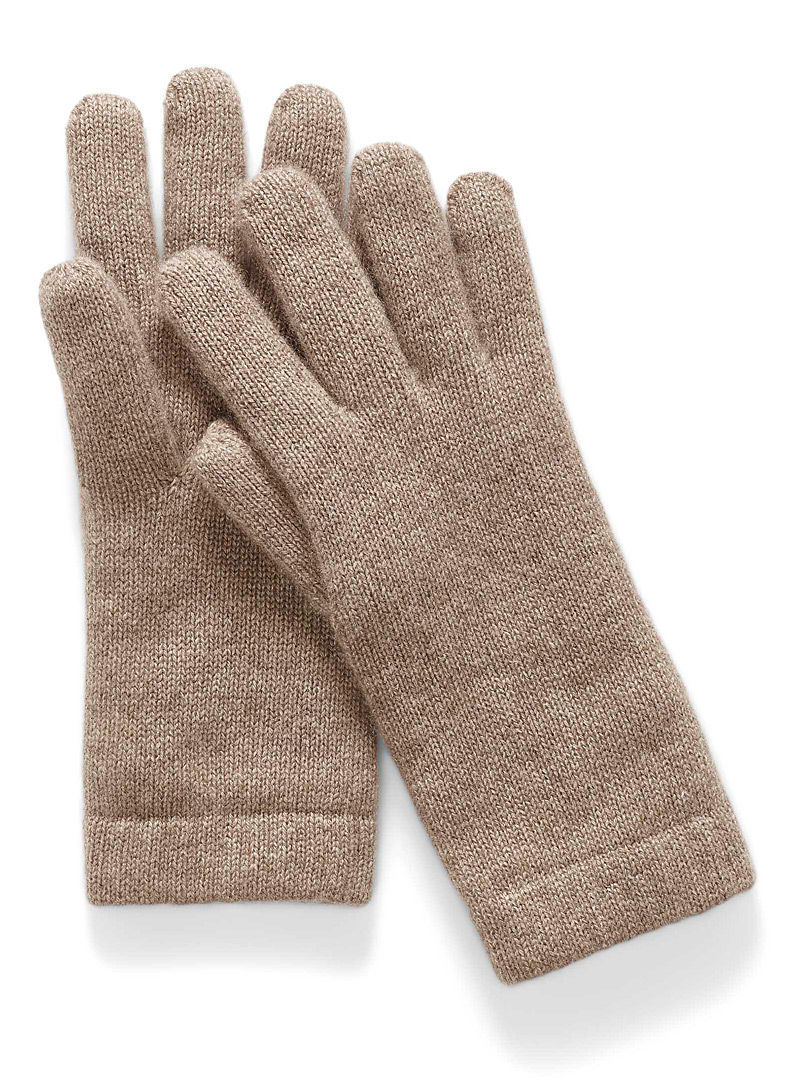Simons Light brown Pure cashmere gloves for women