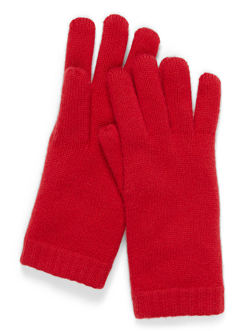 Simons Red Pure cashmere gloves for women
