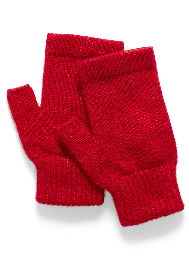 Simons Red Pure cashmere wrist warmers for women