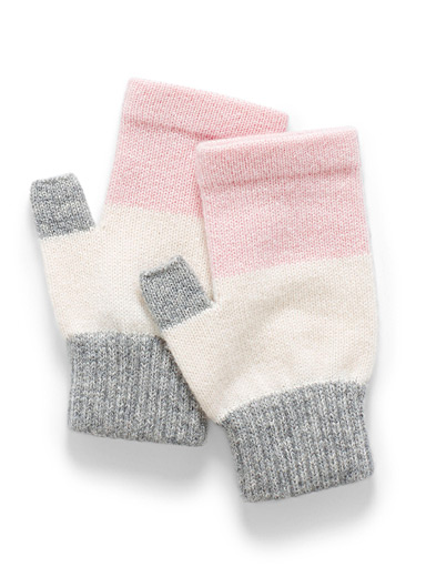 Simons Assorted pink Colour block cashmere wrist warmer for women