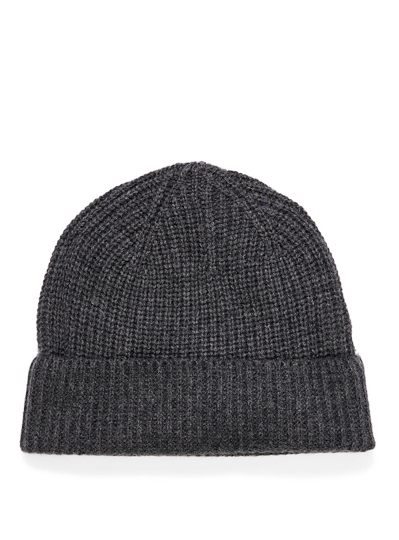 Le 31 Charcoal Pure cashmere ribbed tuque for men