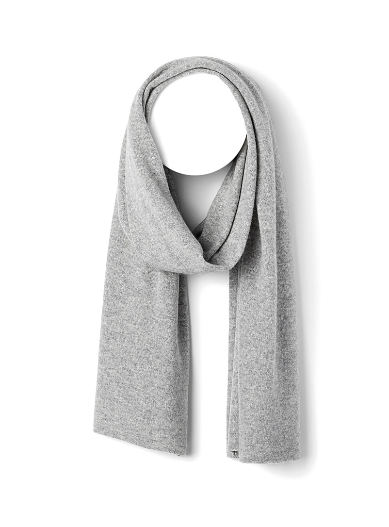 Le 31 Grey Pure cashmere scarf for men