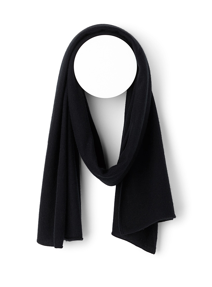 Pure cashmere knit scarf - Winter Scarves - Black