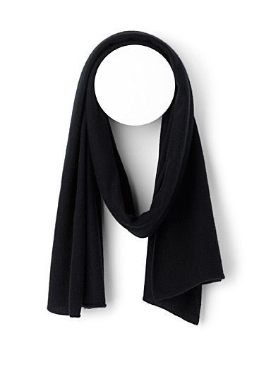 Pure cashmere knit scarf