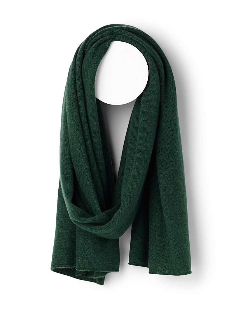 Pure cashmere knit scarf - Winter Scarves - Green