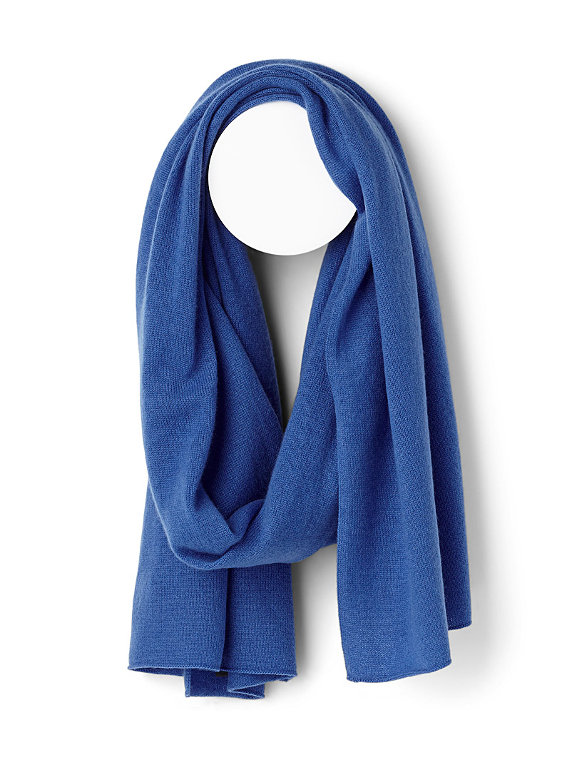 Pure cashmere knit scarf - Winter Scarves - Sapphire Blue