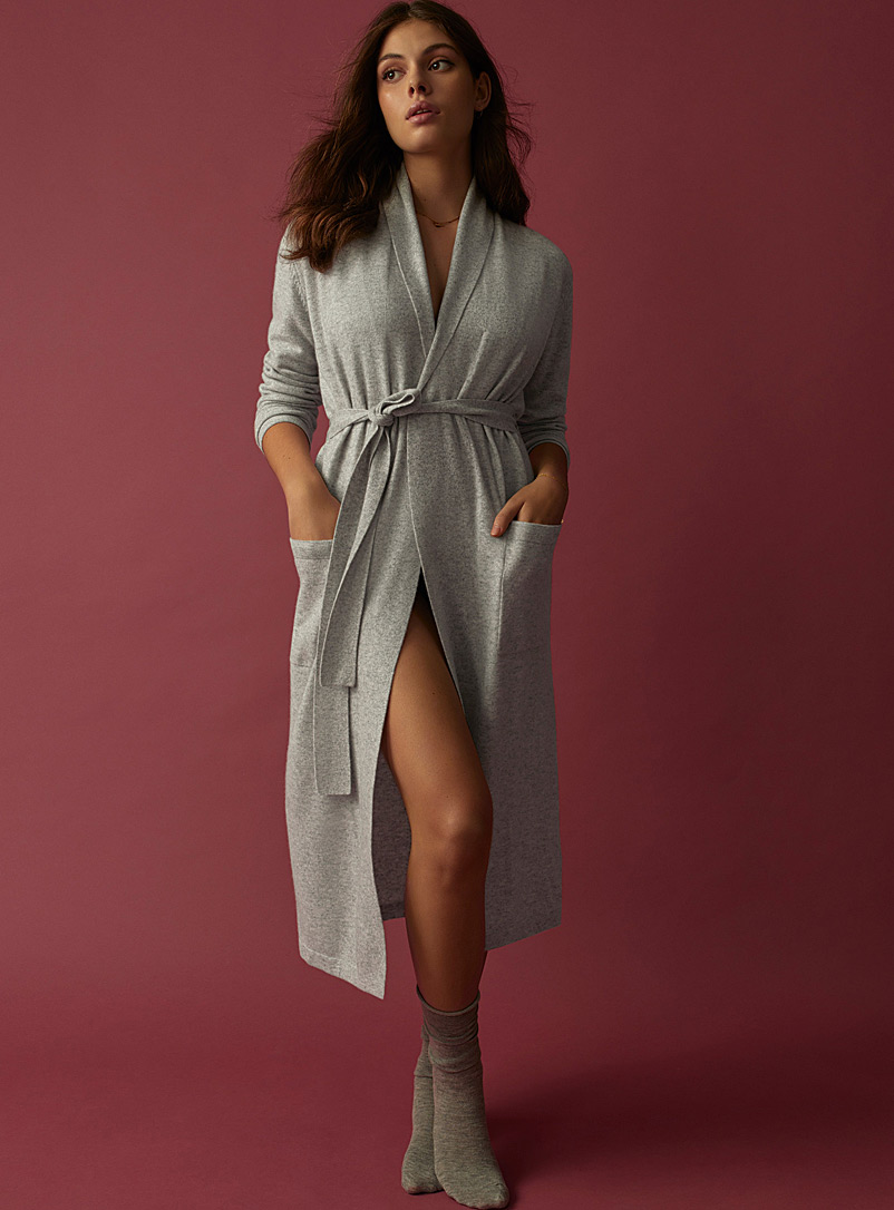 Pure cashmere robe - Sleepwear & Leisurewear - Grey
