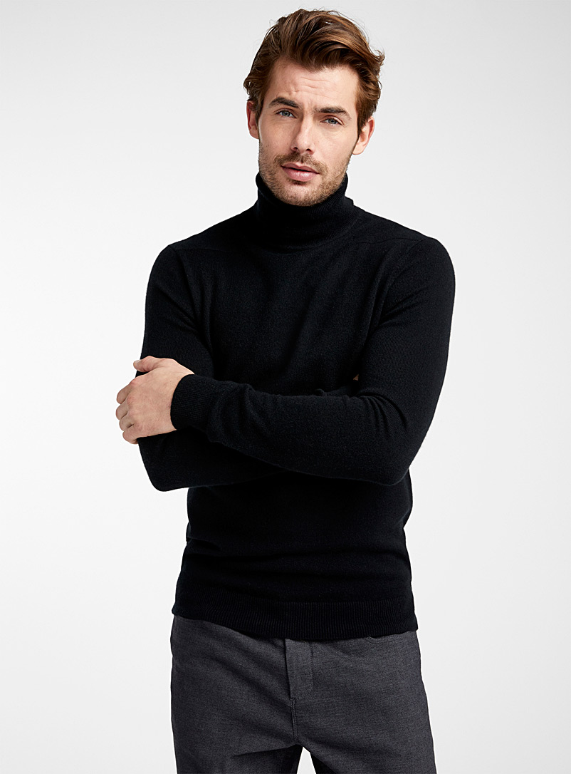 Le 31 Black Pure cashmere turtleneck sweater for men