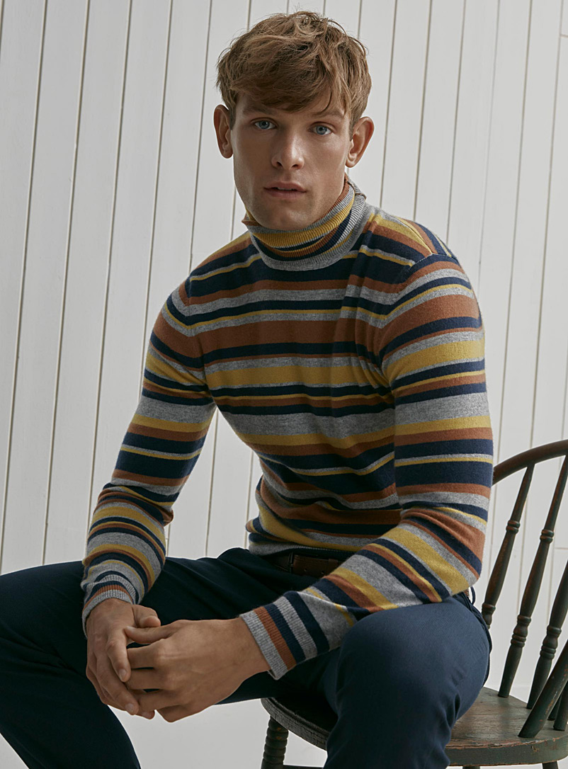 Pure cashmere striped turtleneck - Cashmere - Patterned Brown