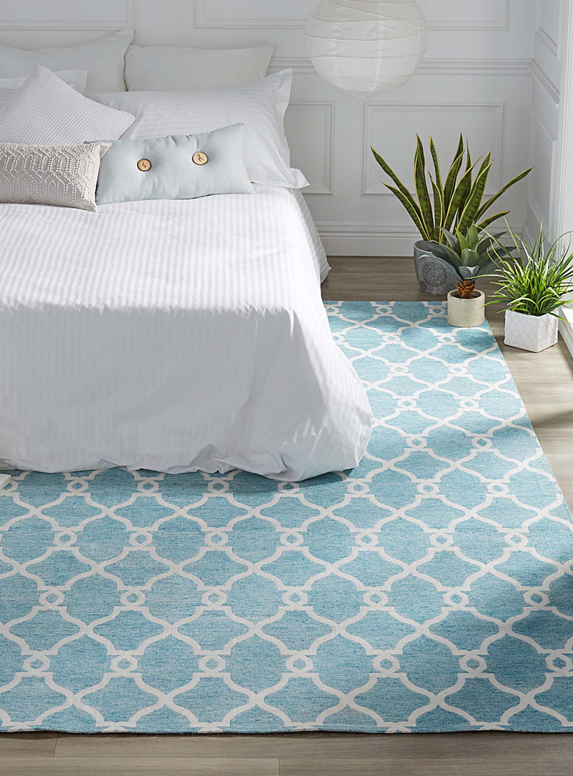 Decorative trellis rug - Area Rugs - Teal