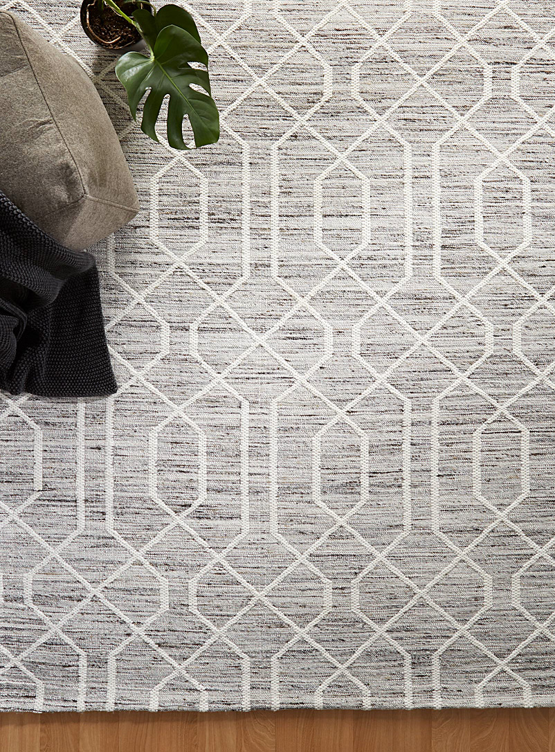 Simons Maison Patterned Grey Decorative trellis rug