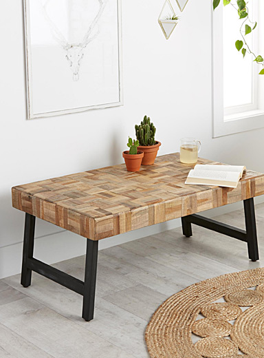 Wood mosaic coffee table