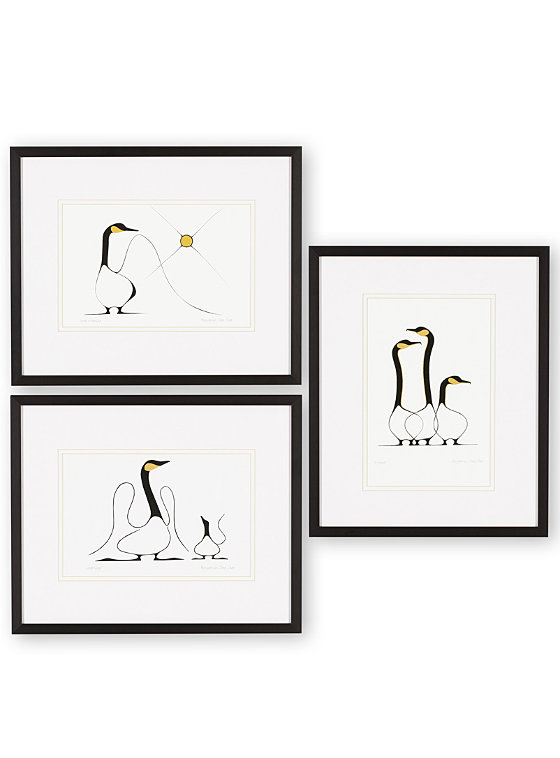 White geese 3-piece art print set  12&quote; x 14.25&quote; - Art - Assorted