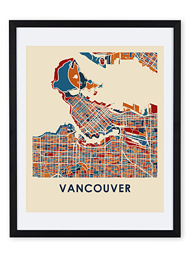 Coloured map of Vancouver art print <br>11