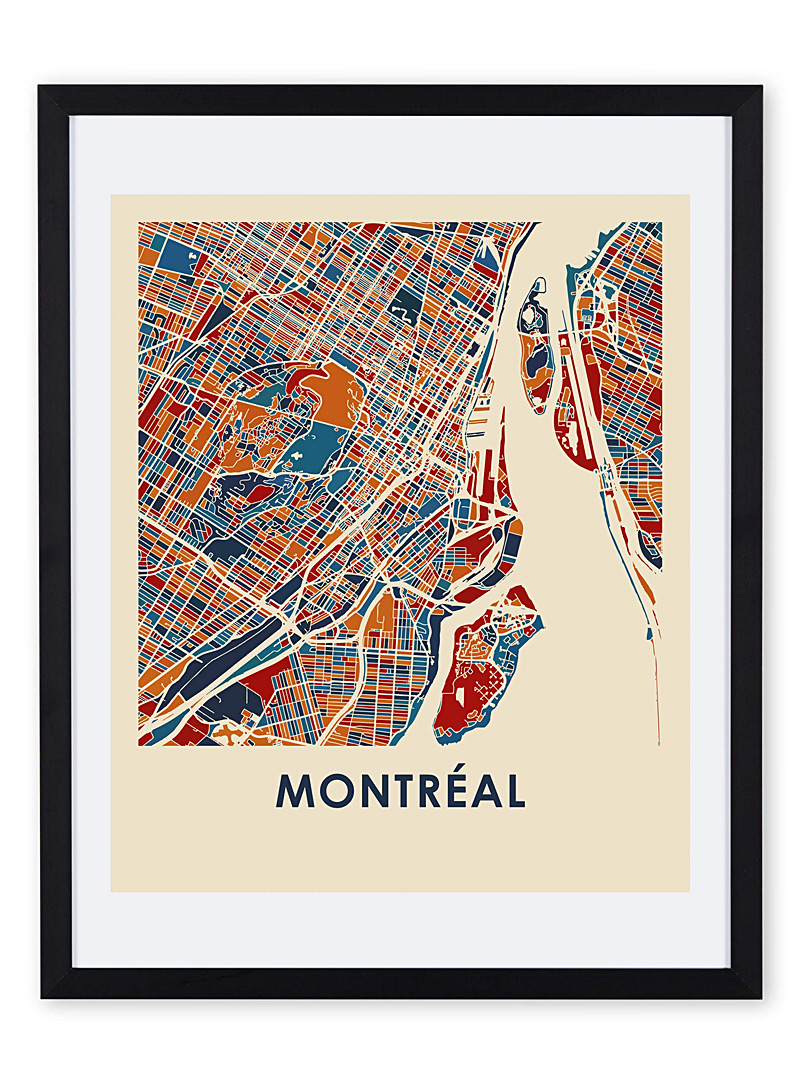 Coloured map of Montreal art print  11&quote; x 14&quote; - Industrial - Assorted