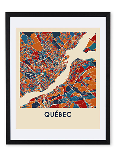 Coloured map of Quebec art print <br>11