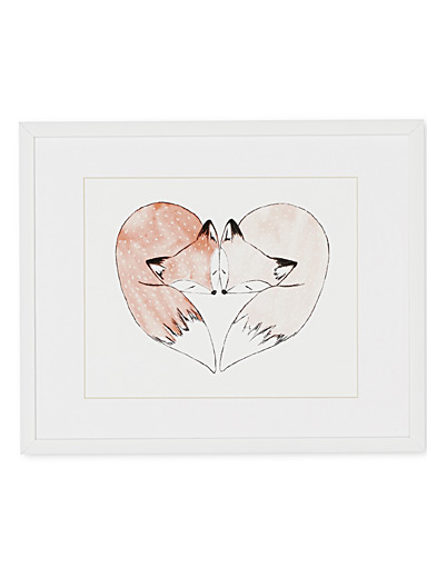Pink foxes art print  10.5&quote; x 13&quote;