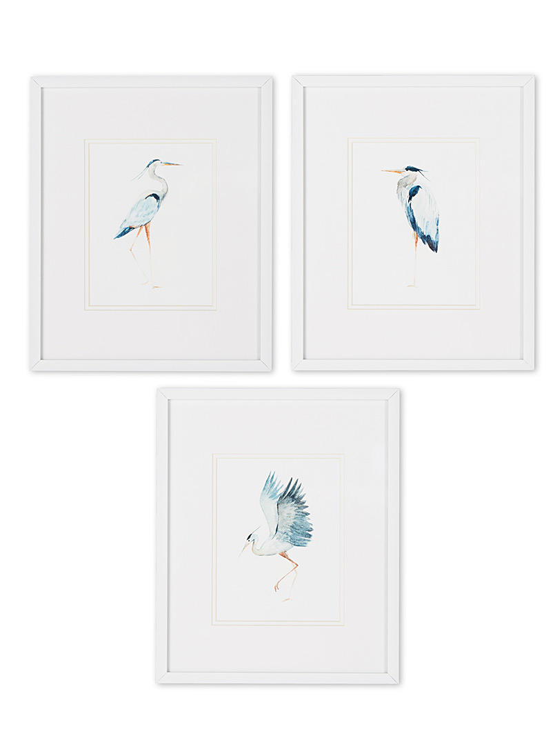 "Great heron 3-piece art print set  12"" x 14.25"""
