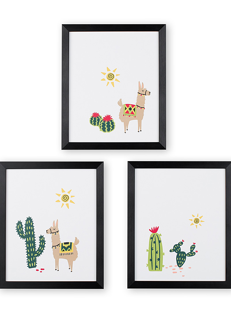 Desert llamas 3-piece art print set  12&quote; x 14.25&quote; - Graphic - Black