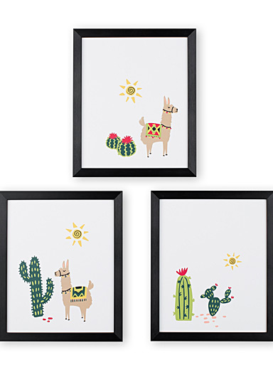 Desert llamas 3-piece art print set  12&quote; x 14.25&quote;