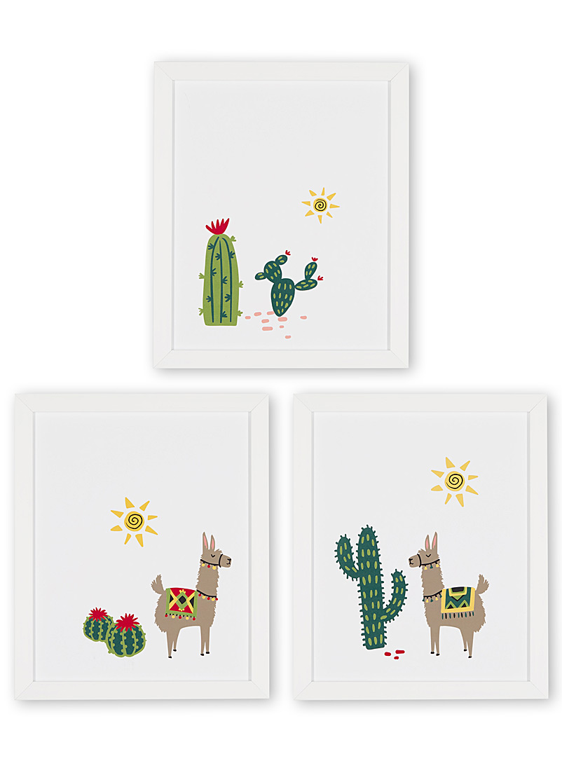 Desert llamas 3-piece art print set  12&quote; x 14.25&quote; - Graphic - White