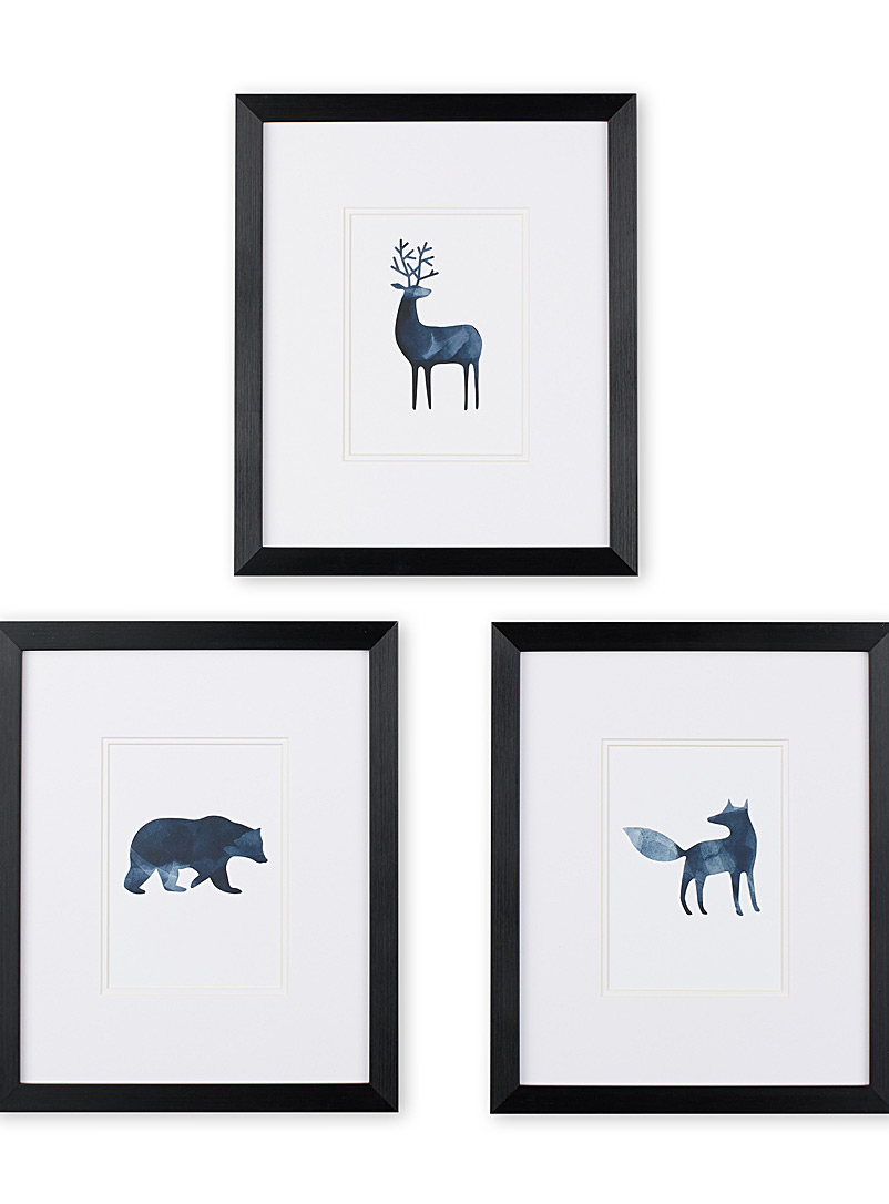 "Painterly animals 3-piece art print set  12"" x 14.25"""