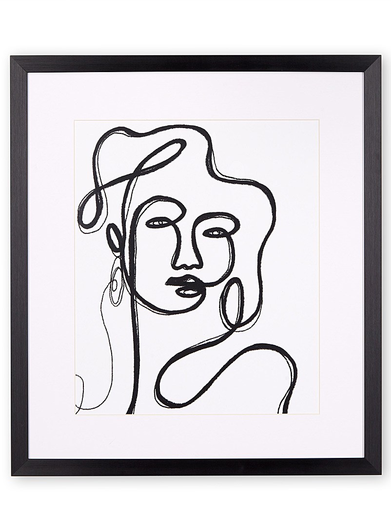 Simons Maison Black and White Linear portrait art print  19