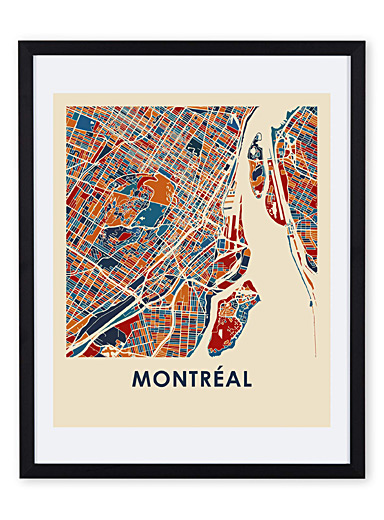 Coloured map of Montreal art print  11&quote; x 14&quote;
