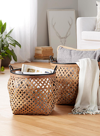Braided bamboo baskets  Set of 2