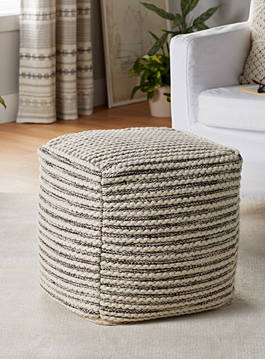Downy stripe pouf