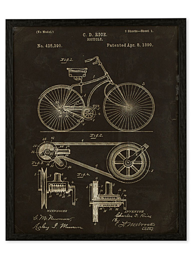 Bicycle Patent, 1890 art print  16.75&quote; x 20.75&quote;