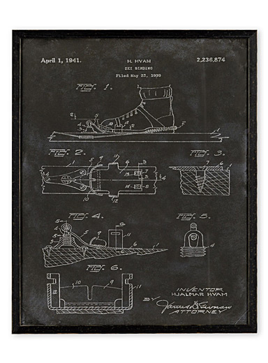 Ski Binding Patent art print  16.75&quote; x 20.75&quote;