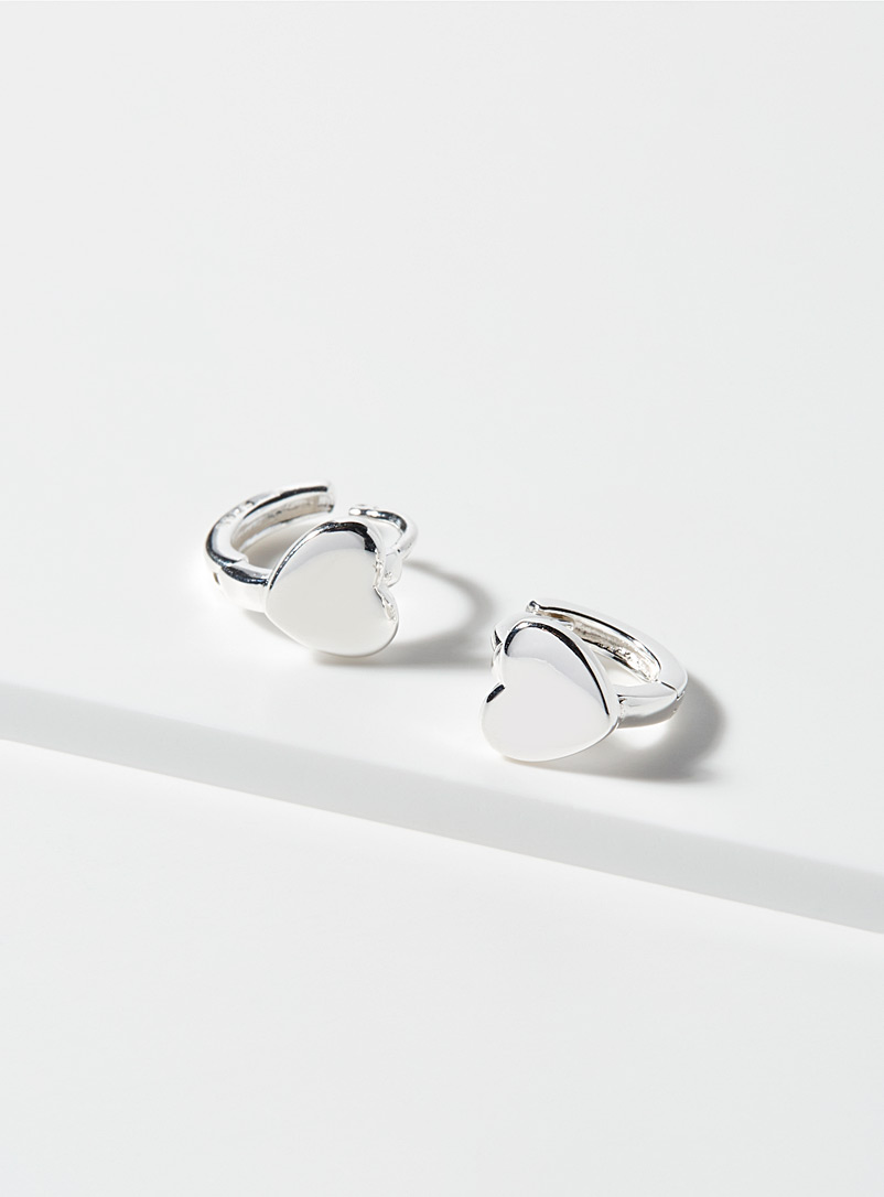 Simons Silver Mini-heart hoops for women