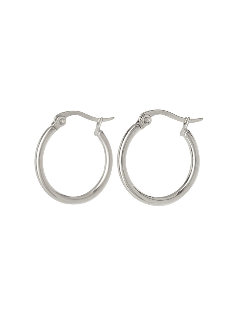 Simons Silver Thin metallic hoops for women