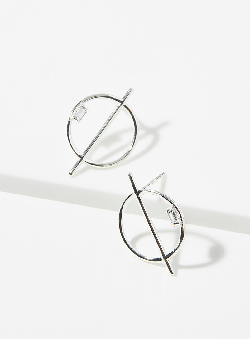 Simons Silver Graphic symbol hoops for women