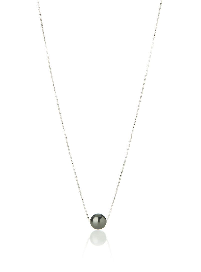 Simons Black Swarovski pearl necklace for women