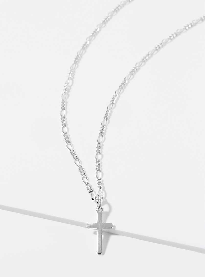 Le 31 Silver Silver cross necklace for men