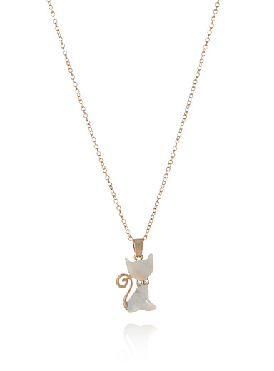 Pearly cat necklace