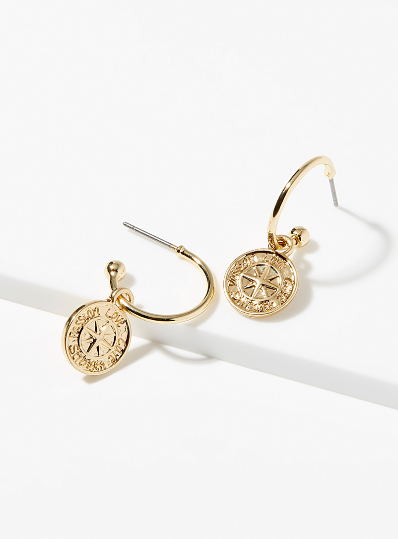 Pilgrim Gold Compass hoops for women