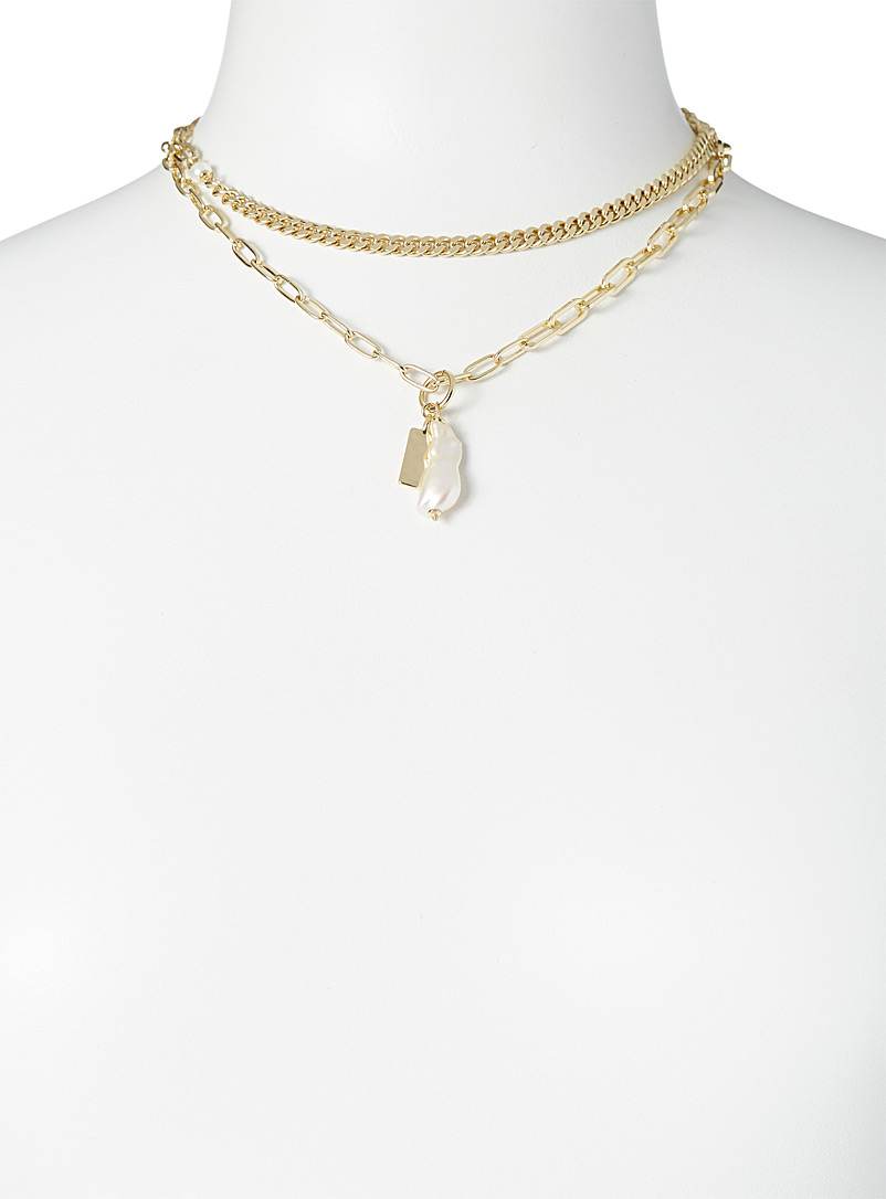 Pilgrim Assorted Organic pearl double-look necklace for women