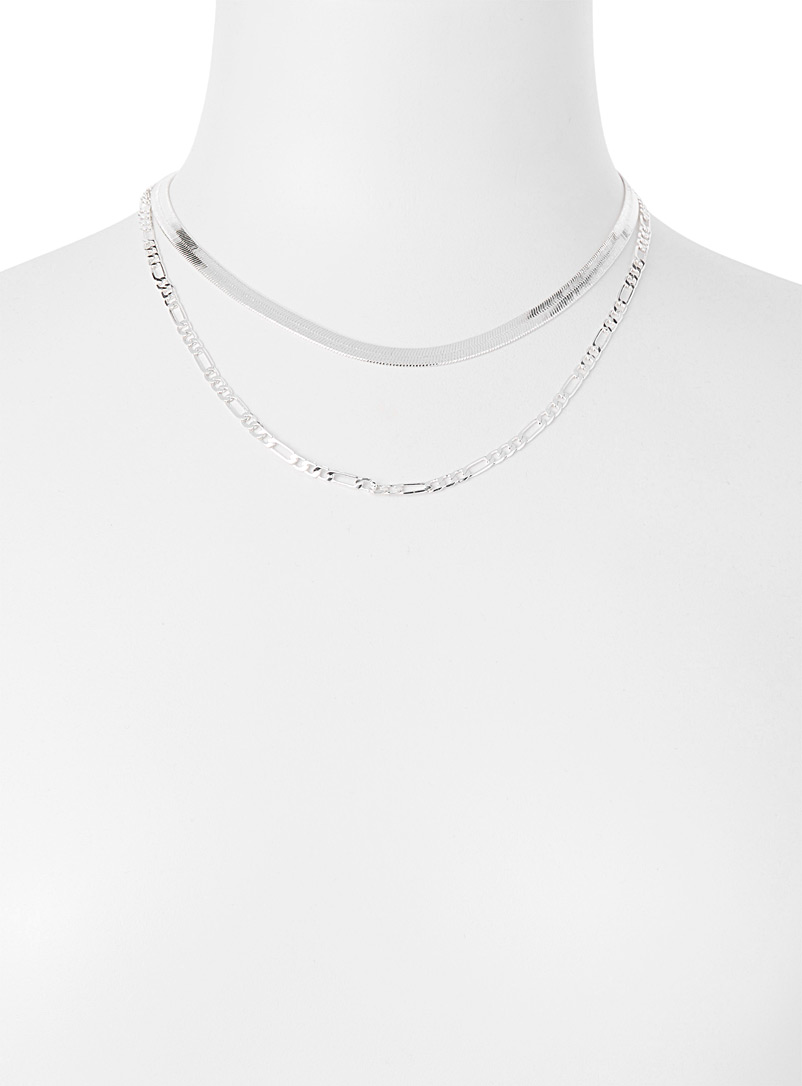 Modern chains  Set of 2 - Necklaces - Silver