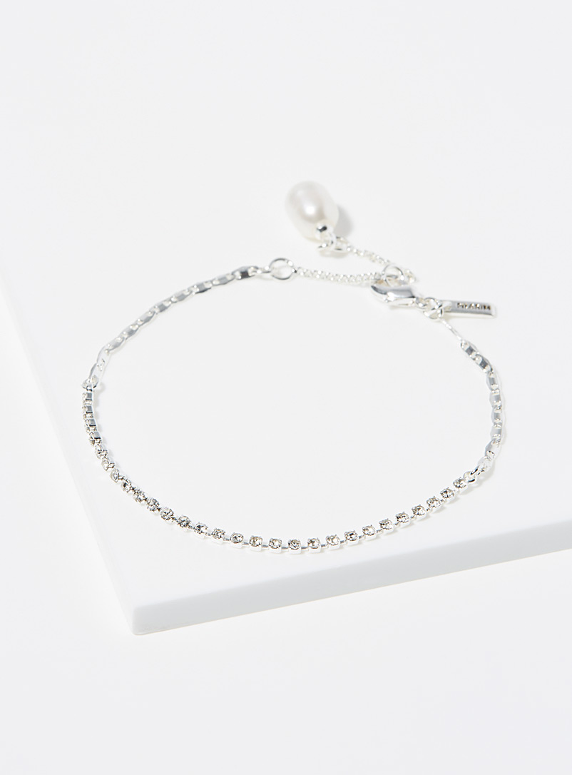 Pilgrim Silver Pearl and coloured crystal bracelet for women