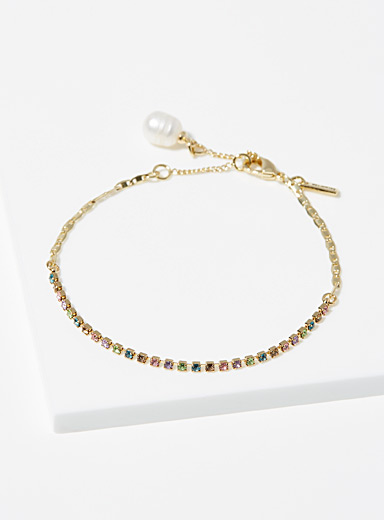 Pearl and coloured crystal bracelet