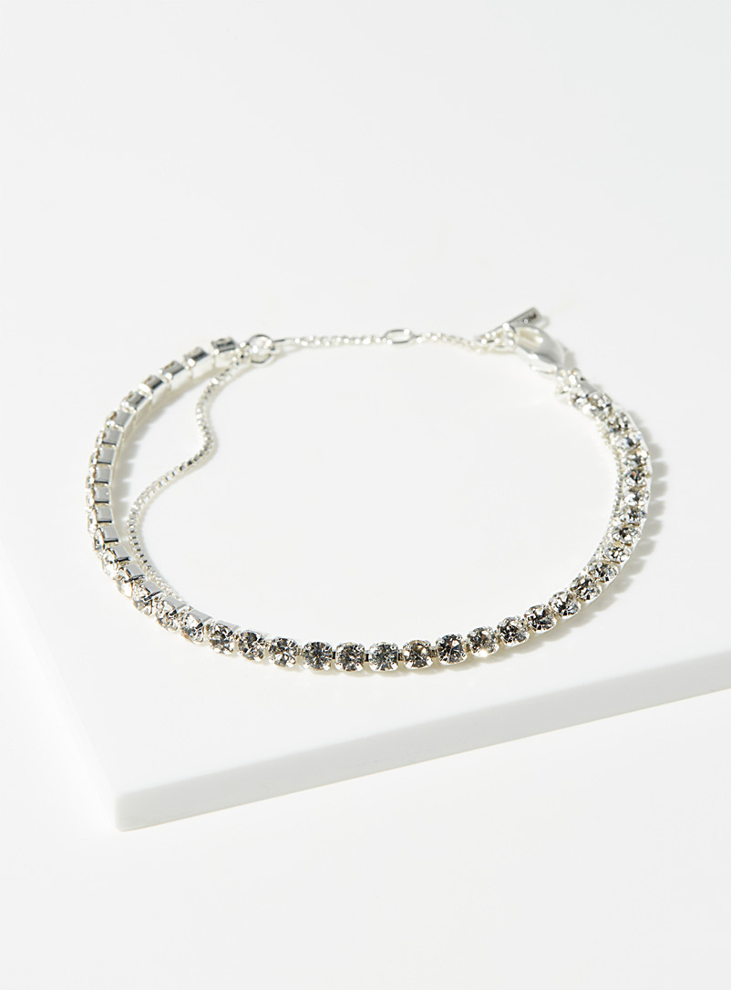 Pilgrim Silver Crystal multi-strand bracelet for women
